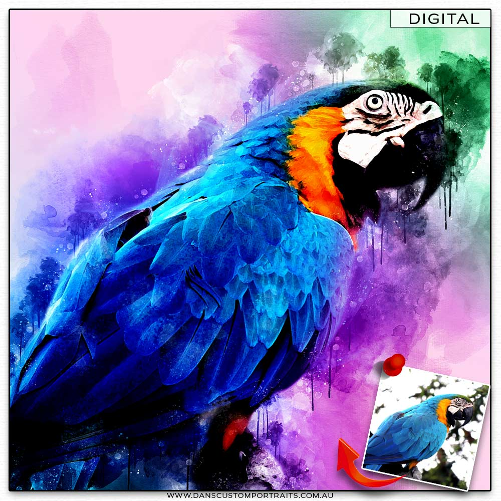 Vibrant Artistic Watercolour Portrait Pet Bird Custom Portrait