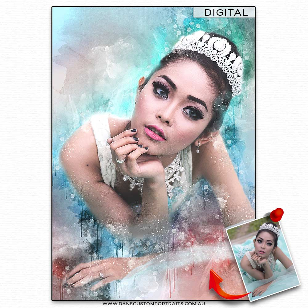 Vibrant Artistic Watercolour Portrait Princess Custom Portrait