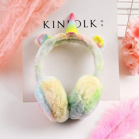 Image of Unicorn Gradient Plush Warm Earmuffs For Kids