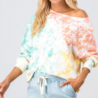 TIE DYE DROP SHOULDER SWEATER