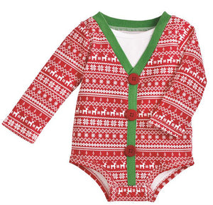 CHRISTMAS CARDIGAN ONESIE 6-9 MONTH