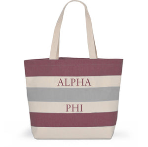 ALPHA PHI STRIPED TOTE BAG