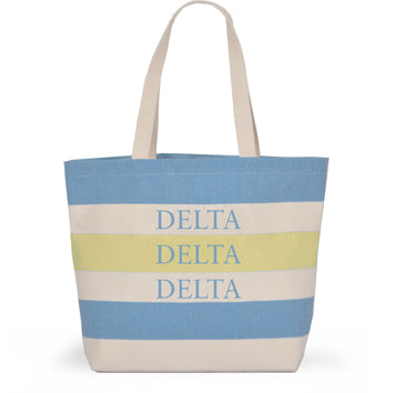 DELTA DELTA DELTA STRIPED TOTE BAG