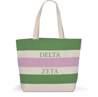 DELTA ZETA STRIPED TOTE BAG
