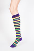 MARDI GRAS STRIPE KNEE SOCKS