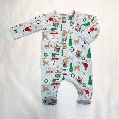 BOYS CHRISTMAS PRINT SLEEPER ONESIE