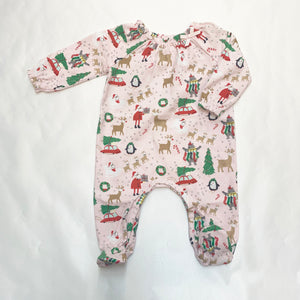 GIRLS CHRISTMAS PRINT SLEEPER ONESIE
