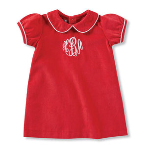 RED CORDUROY DRESS 6-9 MONTH