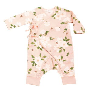 MAGNOLIA PINK BABY WRAP COVERALLS