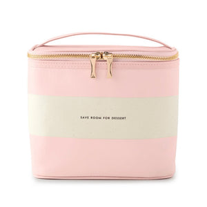 KATE SPADE BLUSH RUGBY STRIPE LUNCH TOTE