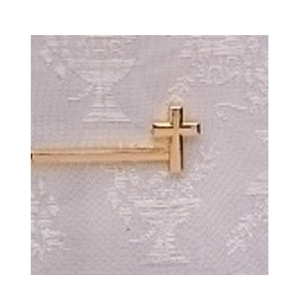 GOLD PLATED TIE BAR WITH CROSS