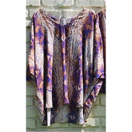PURPLE AND GOLD TAUPE SNAKE CREPE TOP
