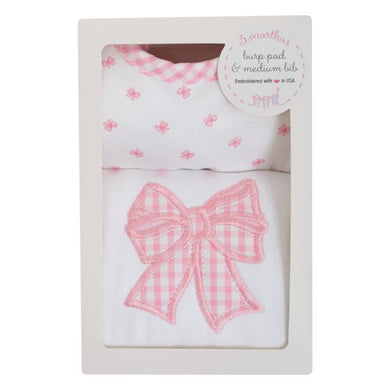 PINK BOW BIB & BURP SET