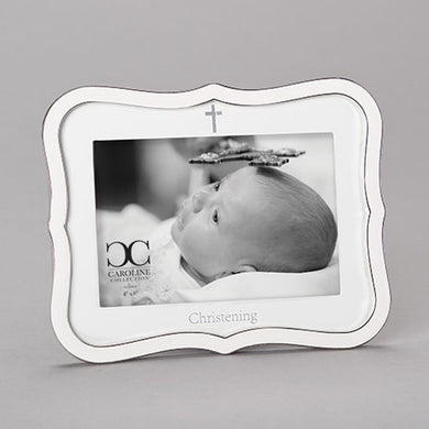 WHITE CHRISTENING FRAME
