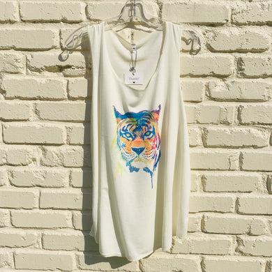 white tank top with colorful tiger print