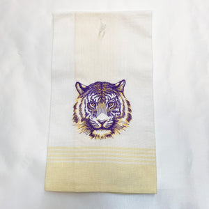 PURPLE & GOLD TIGER HEAD HAND TOWEL