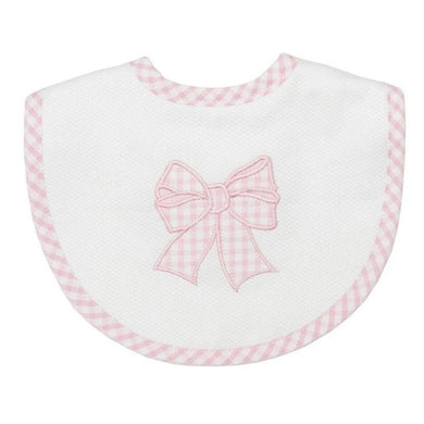 PINK BOW APPLIQUE MEDIUM BIB