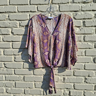 PURPLE AND GOLD SNAKE TIE TOP