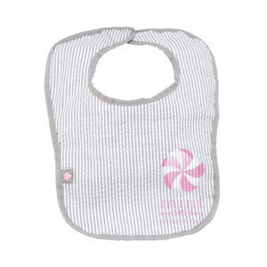 MONOGRAMED GREY SEERSUCKER BIB
