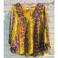 PURPLE AND GOLD SNAKE VNECK TOP