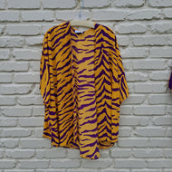 PURPLE AND GOLD TIGER STRIPE KIMONO