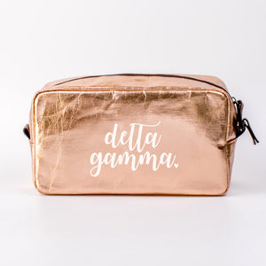 DELTA GAMMA ROSE GOLD COSMETIC BAG