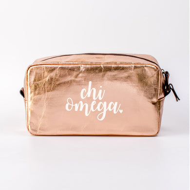 CHI OMEGA ROSE GOLD COSMETIC BAG