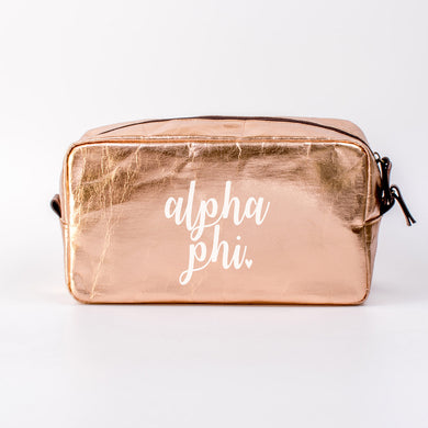 ALPHA PHI ROSE GOLD COSMETIC BAG