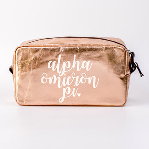 ALPHA OMICRON PI ROSE GOLD COSMETIC BAG