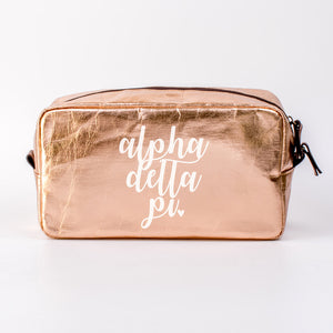 ALPHA DELTA PI ROSE GOLD COSMETIC BAG