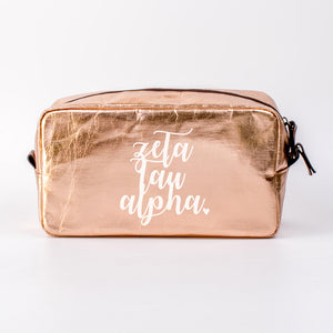 ZETA TAU ALPHA ROSE GOLD COSMETIC BAG