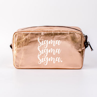 SIGMA SIGMA SIGMA ROSE GOLD COSMETIC BAG
