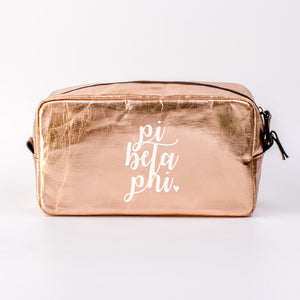 PI BETA PHI ROSE GOLD COSMETIC BAG