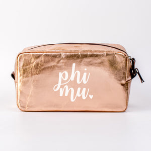 PHI MU ROSE GOLD COSMETIC BAG