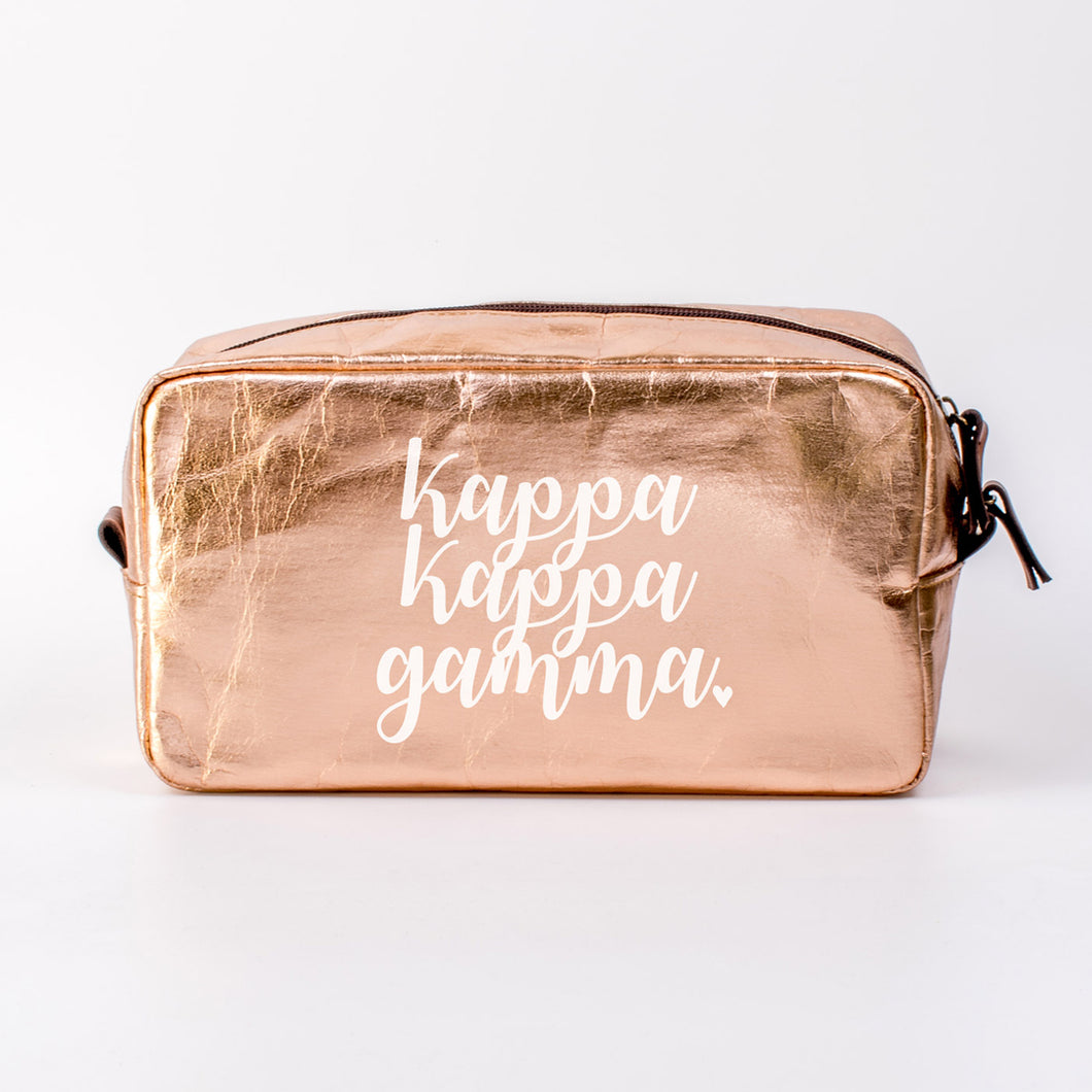 KAPPA KAPPA GAMMA ROSE GOLD COSMETIC BAG