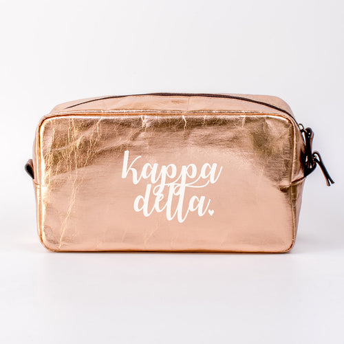 KAPPA DELTA ROSE GOLD COSMETIC BAG