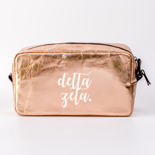 DELTA ZETA ROSE GOLD COSMETIC BAG