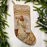 ANGEL WITH HORN NEEDLEPOINT CHRISTMAS STOCKING