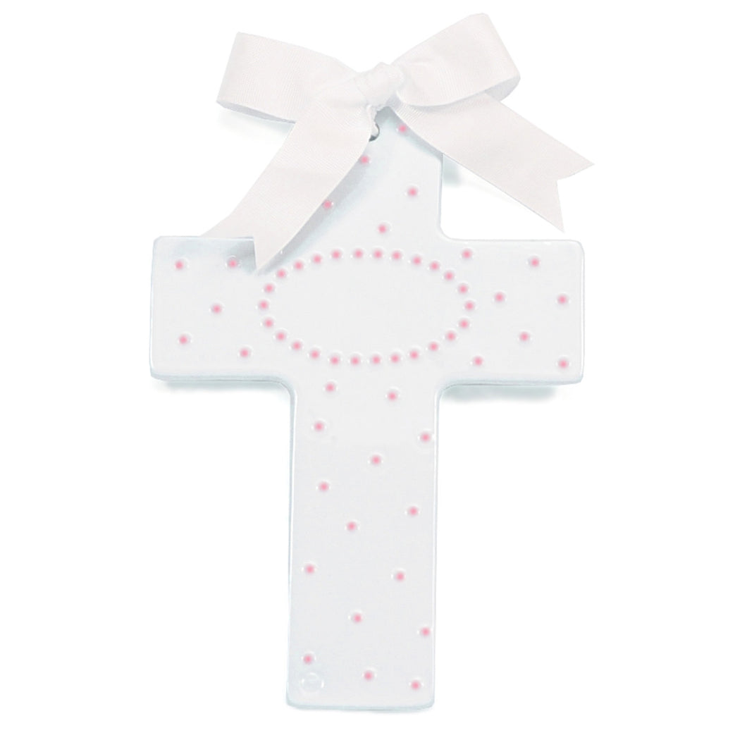 PERSONALIZED CERAMIC CROSS PINK