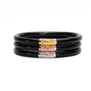 BLACK THREE KINGS ALL WEATHER BANGLE SET OF 3