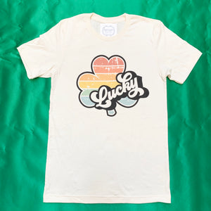 LUCKY RETRO RAINBOW CLOVER TEE SHIRT