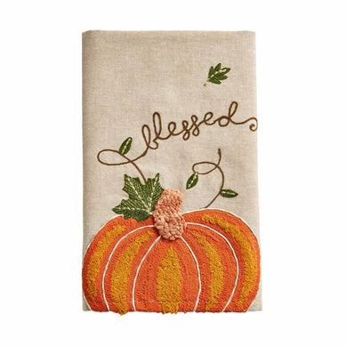 BLESSED EMBROIDERED PUMPKIN HAND TOWEL