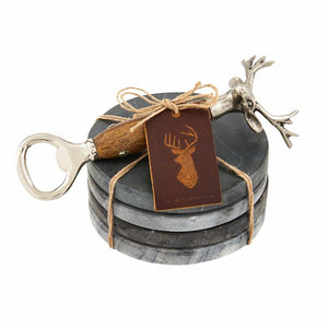 DEER BOTTLE OPENER WITH COASTER SET