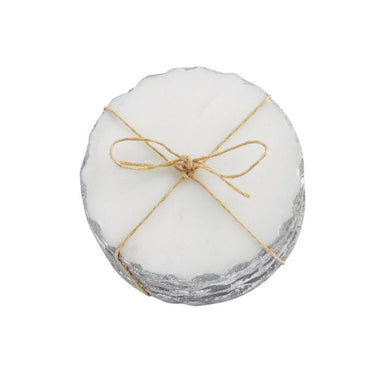 SILVER MARBLE FOIL COASTER SET
