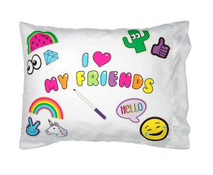 I HEART MY FRIENDS AUTOGRAPH PILLOW CASE