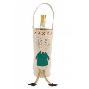 REINDEER DANGLE LEG WINE BAG