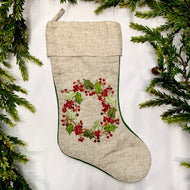 BERRY WREATH CHRISTMAS STOCKING