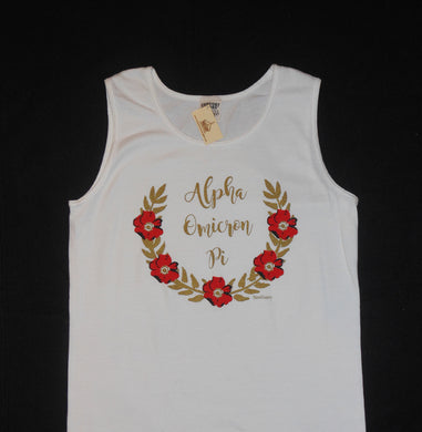 ALPHA OMICRON PI FLOWER WREATH TANK