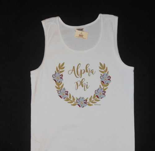ALPHA PHI FLOWER WREATH TANK