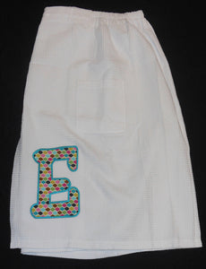 APPLIQUE INITIAL BATH WRAP